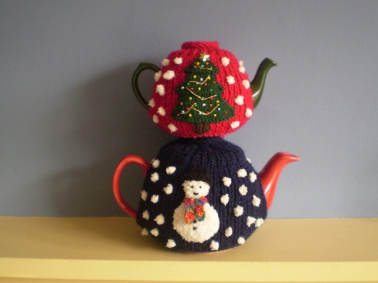 Double Sided Christmas Tree and Snowman Tea Cosy