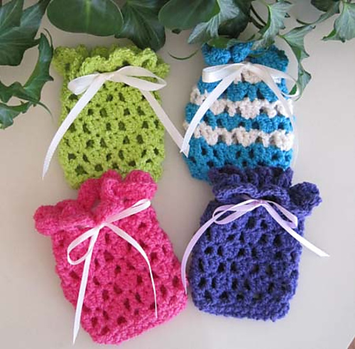 Free Crochet Pattern Soap Bag : Sweet Soap or Sachet Bags knit1knitall